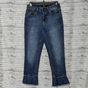 Earl Jean Cropped Flare Ruffle Bottom Jeans SZ:8